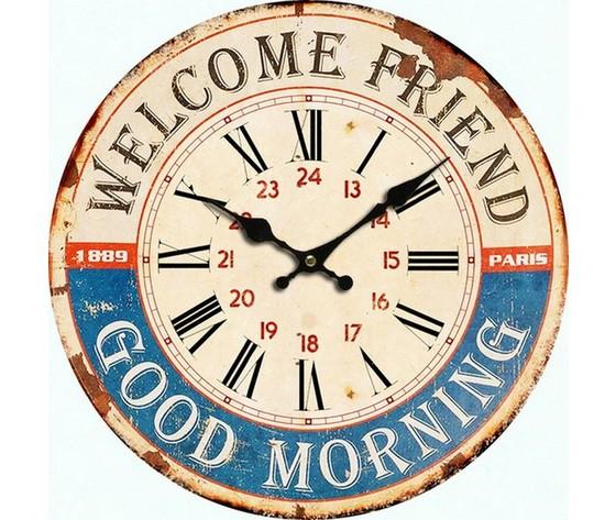 Orologio da parete bianco azzurro welcome friend