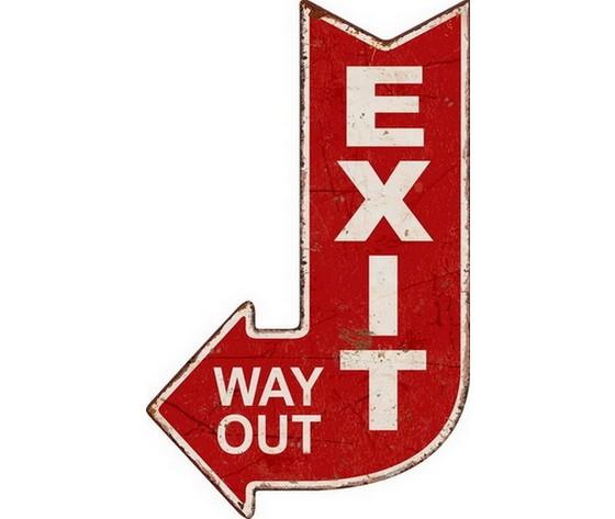 Targa in metallo 'exit way out'