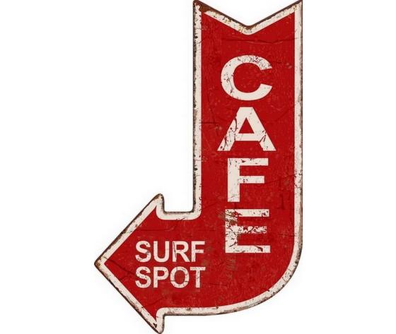 Targa in metallo cafe surf spot