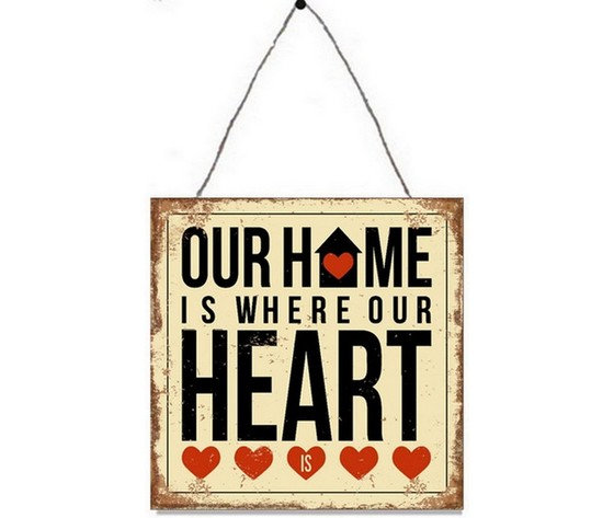 Targa in metallo da appendere home heart