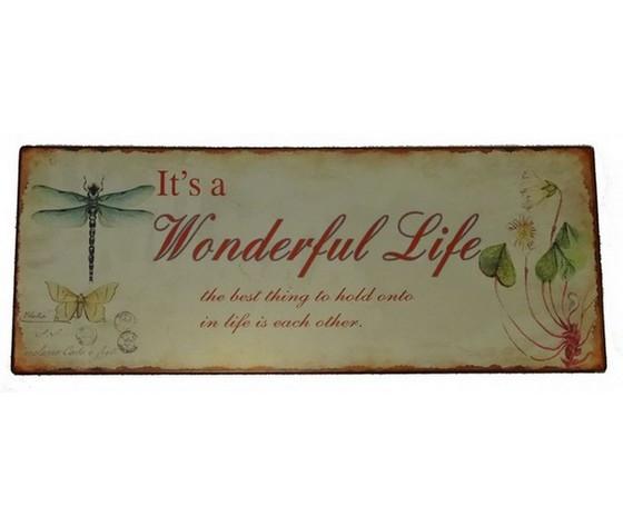Targa in metallo wonderful Life