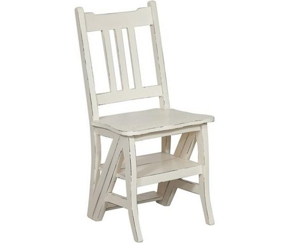 Sedia a scala per libreria bianca