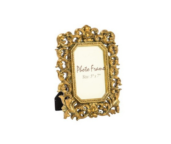 Portafoto resina oro barocco foglie