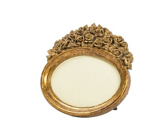 Portafoto resina oro barocco rose ovale