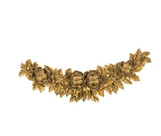 Sopraporta fregio frontone cornice barocco fiori oro