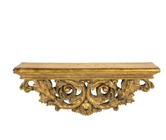 Mensola resina oro con foglie barocco