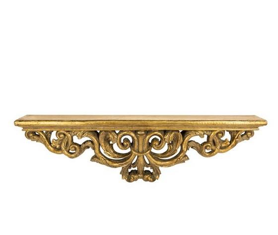 Mensola gold oro barocco resina grande con foglie