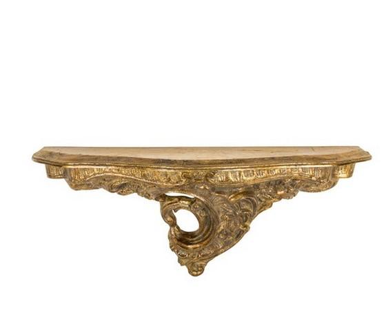 Mensola resina oro barocco con foglia grande