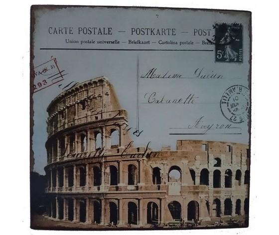 Pannello postcards del colosseo in latta roma