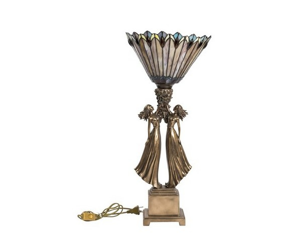 Lampada stile Tiffany da tavolo con coppia donne