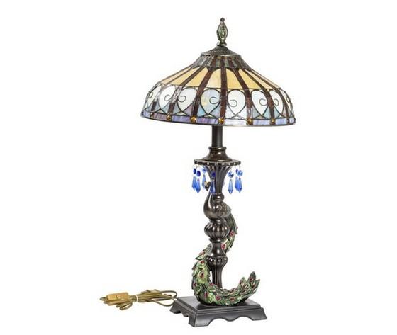 Lampada stile Tiffany da tavolo Pavone
