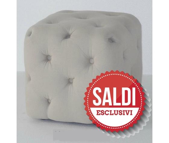 Pouf bianco quadrato in tessuto con piedini