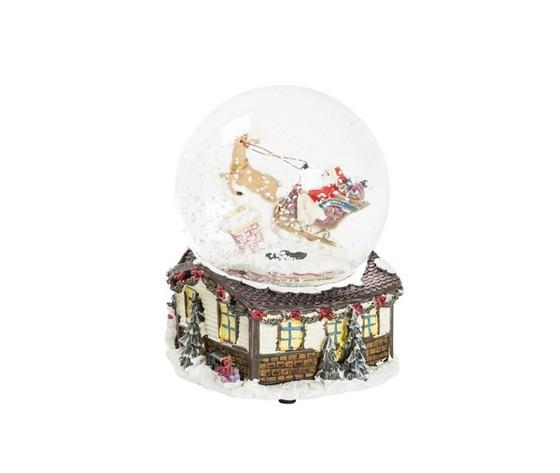 Palla di vetro  natalizia musicale con neve e slitta