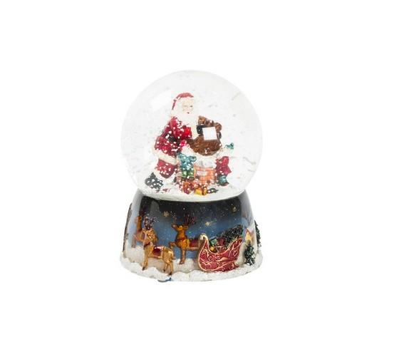 Palla di vetro  natalizia musicale con neve e Babbo Natale