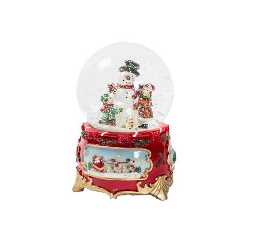 Palla di vetro natalizia musicale con neve