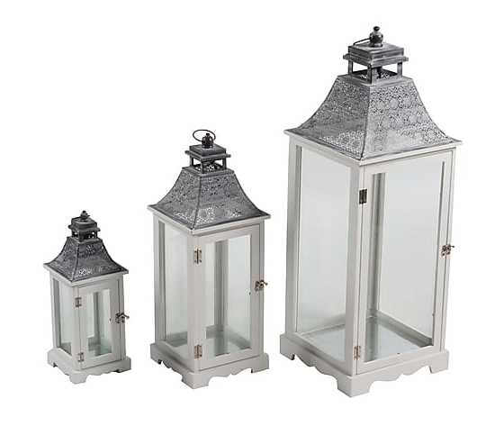Set 3 lanterne in legno e metallo