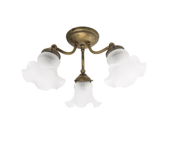 Plafoniera 3 luci in ottone