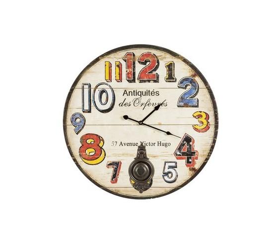 orologio con pendolo e numeri colorati