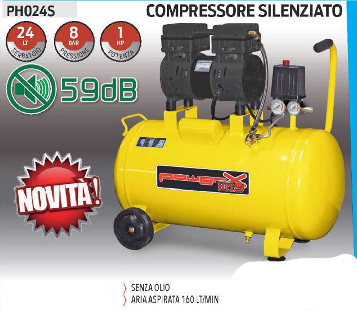 Powerx compressore silenziato 24lt senza olio 8 bar 1 hp