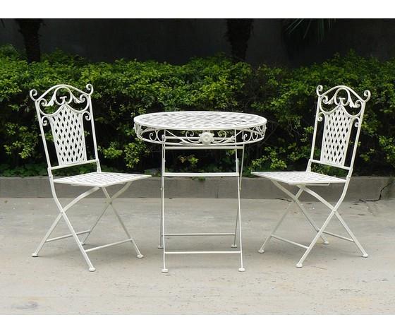 Set  tavolo e due sedie in ferro bianco da giardino