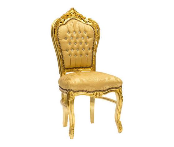 Sedia Barocco Oro e Tessuto Damasco Oro con Gemme