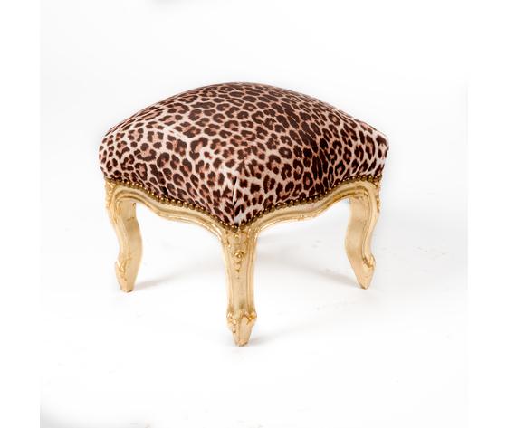 Pouf Oro e Tessuto Leopardato