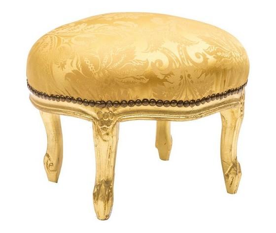 Pouf Rotondo Oro e Tessuto Oro Damasco