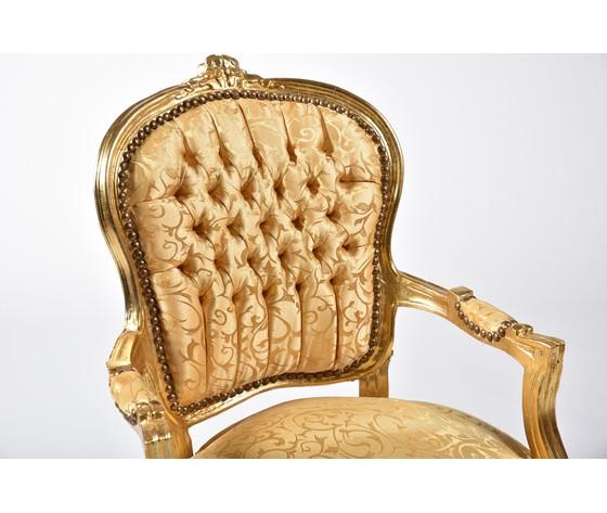 Poltrona Luis Oro e Tessuto Oro con Foglie