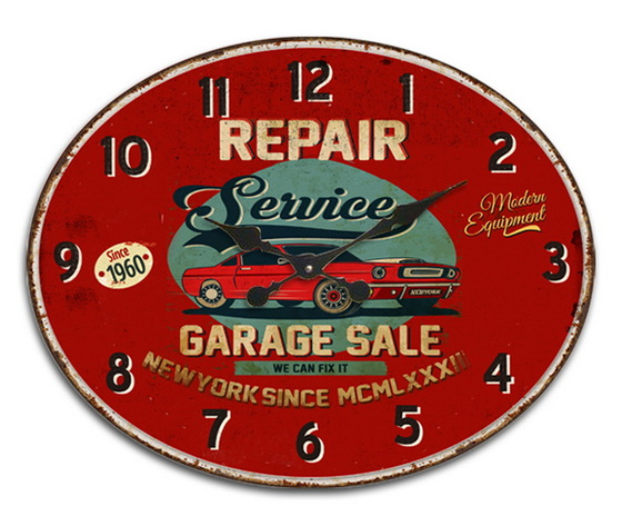 Orologio ovale da parete Garage