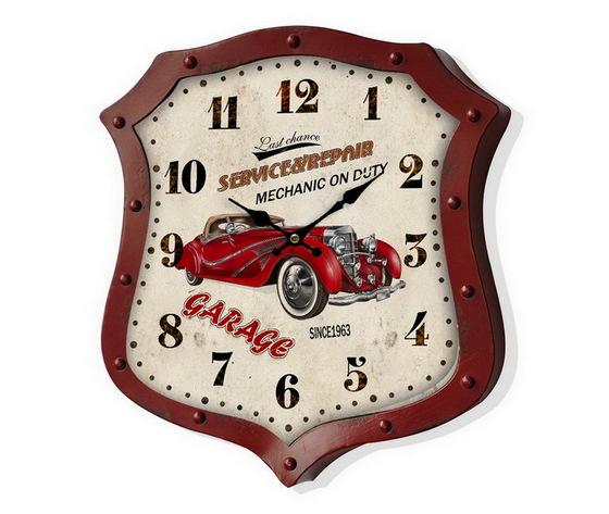 Orologio da parete metallo Garage Rosso