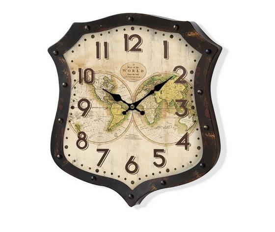 Orologio da parete metallo Mappamondo Marrone