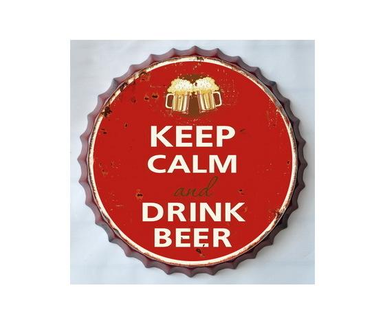Targa metallo Tappo birra Keep Calm and Drink Beer