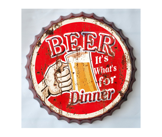 Targa metallo Tappo birra Beer for Dinner