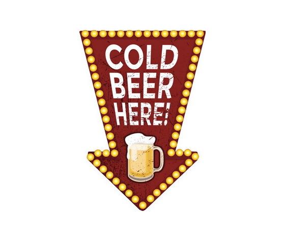 Targa pannello metallo Freccia Cold Beer