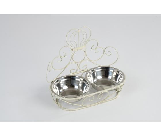 Portaciotole cani e gatti ferro battuto stile Shabby Vintage White