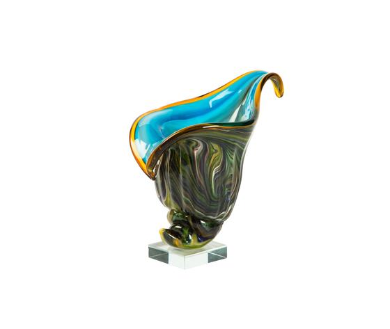 VASO VETRO CONCHIGLIA STILE MURANO 25x25x18 cm