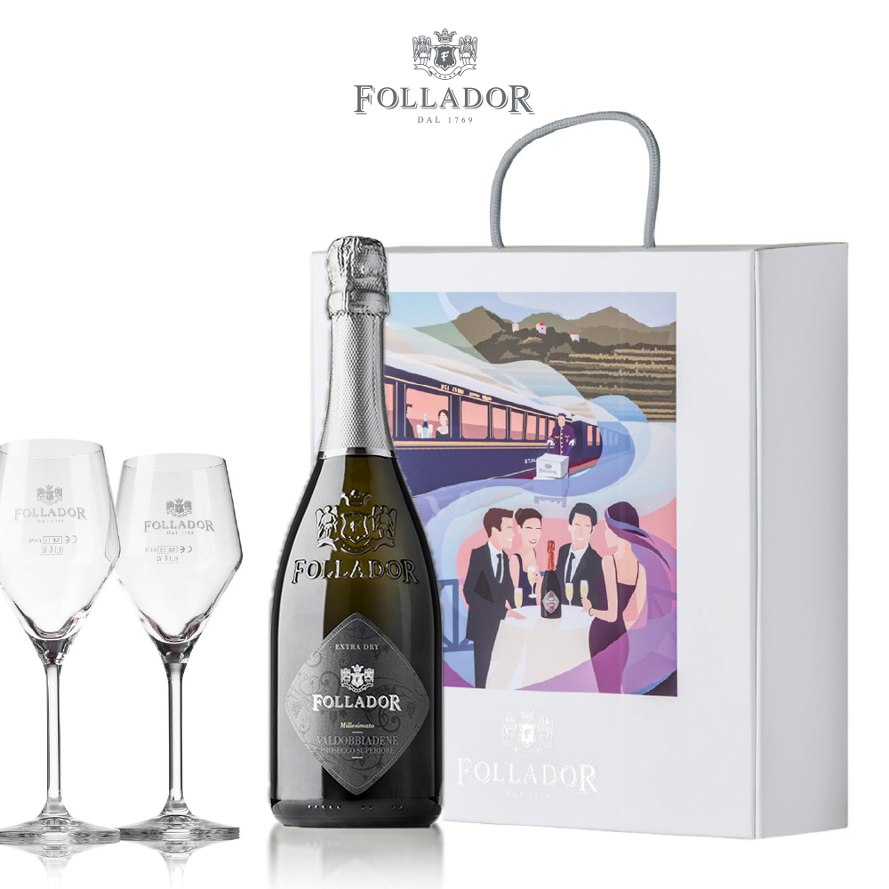 Gift Package Prosecco Superiore D.O.C.G. Extra Dry with 2 Wine glasses