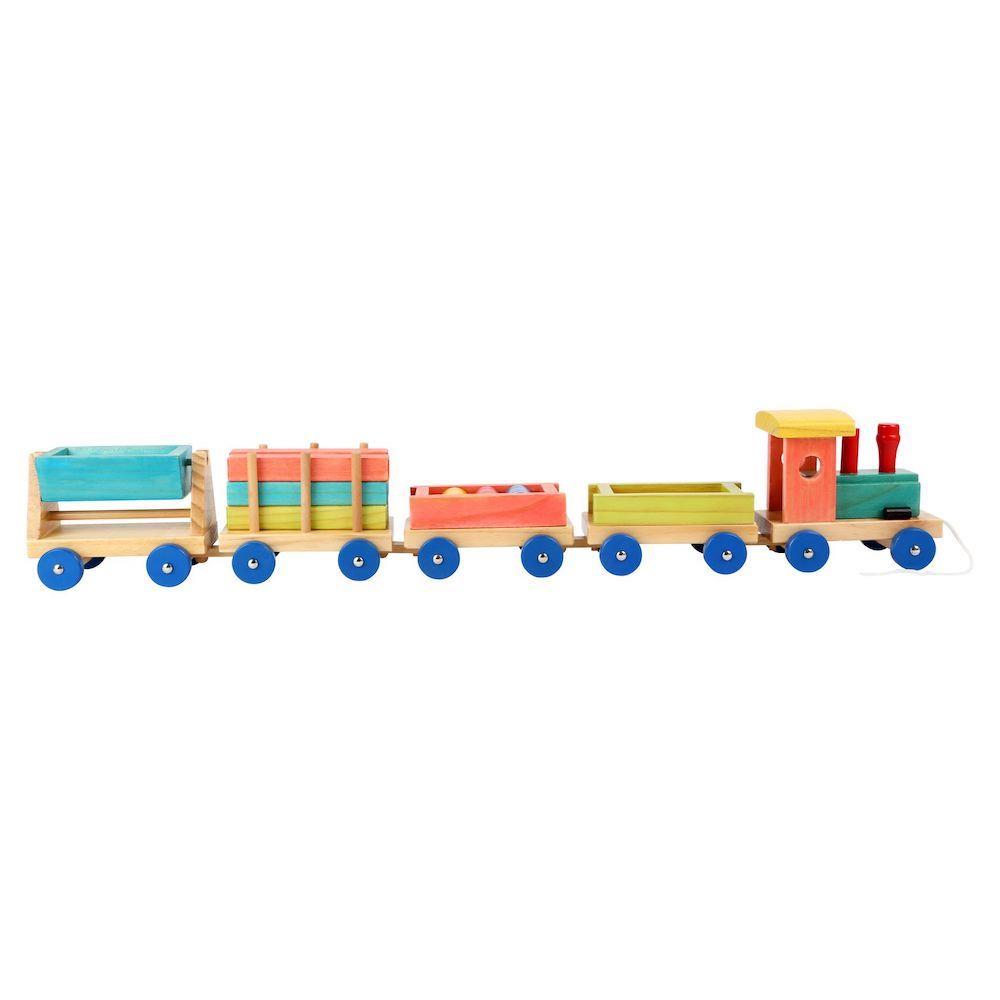Trenino in legno colorato con elementi rimovibili