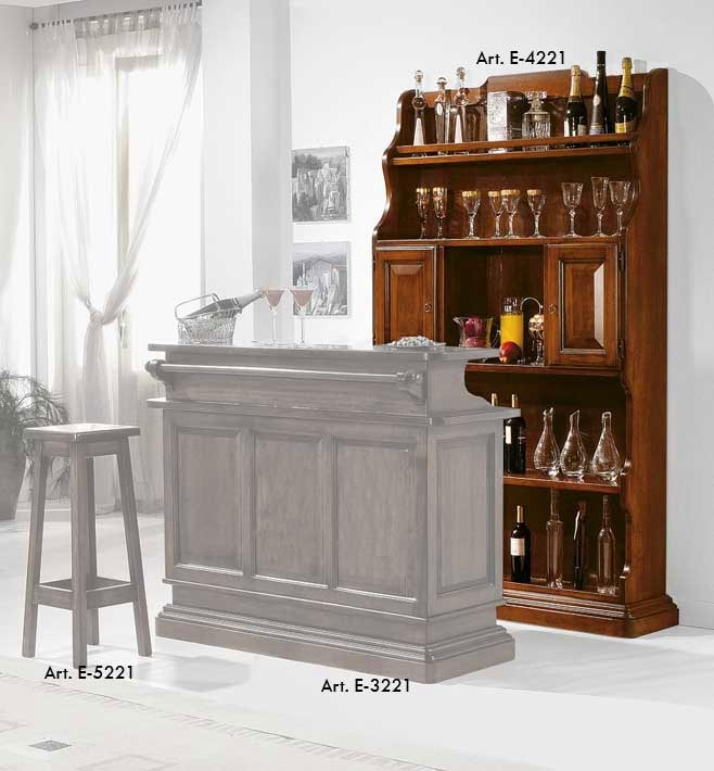 Mostrador del bar de pared en madera de artesanado para botillas