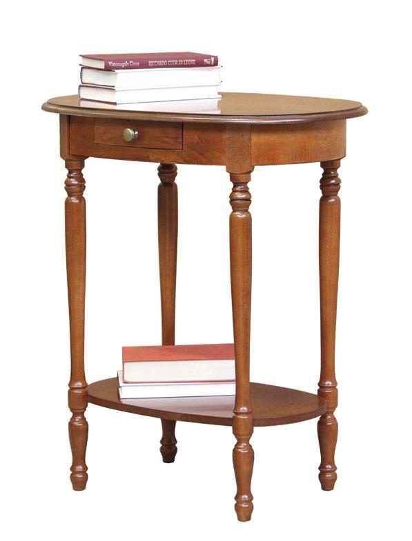 Mesa auxiliar ovalada con cajón