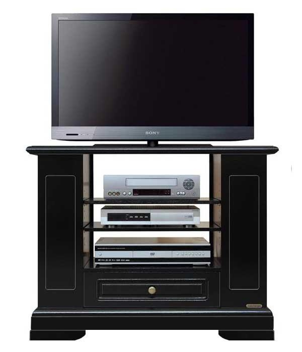 Mueble tv negro en madera con estantes regulables