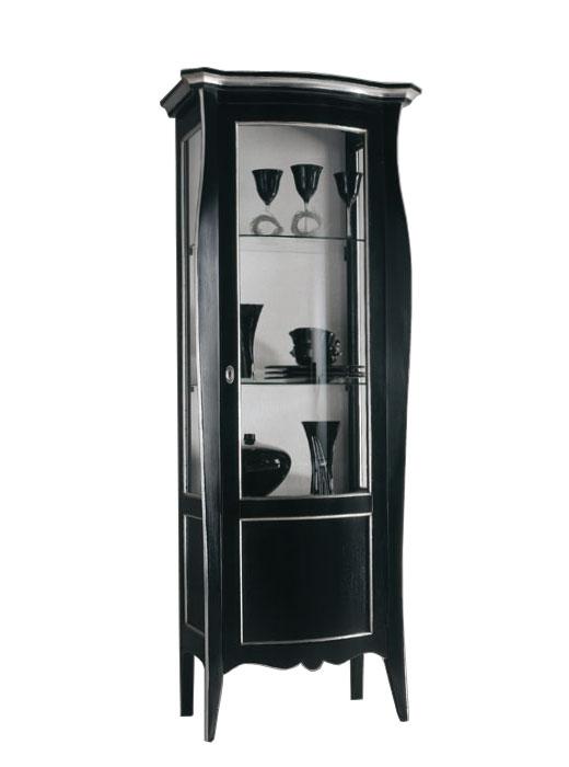 Vitrina laqueada negra decoraciones plateadas
