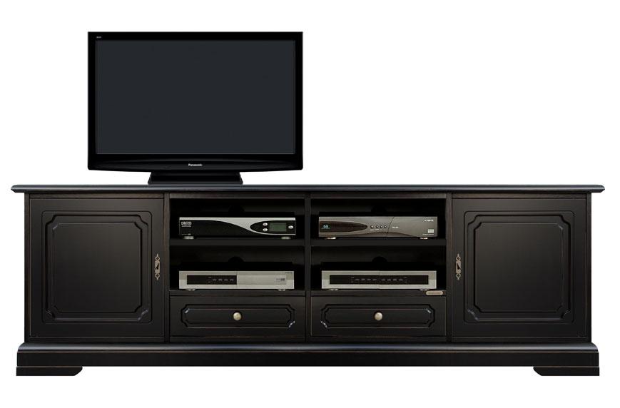 Mueble tv acabado negro para salón estilo clásico