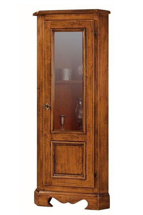 Mueble vitrina de esquina, madera maciza