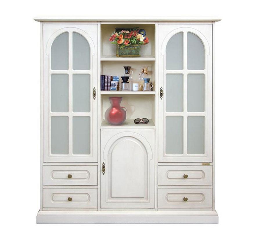 Mueble vitrina modular estilo clásico 3 puertas 4 cajones