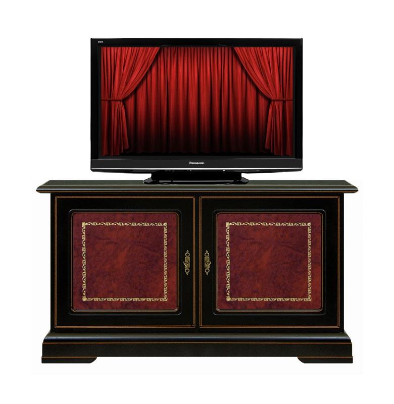 Mueble tv bajo dos puertas madera y piel