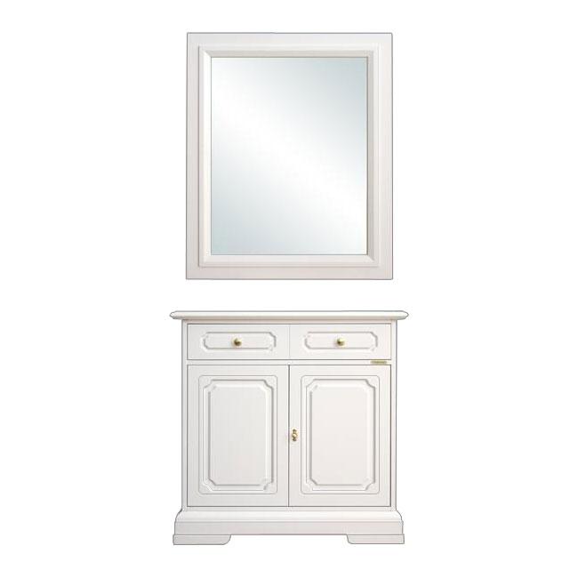 Aparador y espejo laqueados blancos muebles de entrada en madera