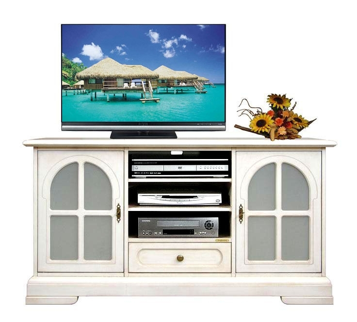 Mueble tv en madera puertas vitrinas