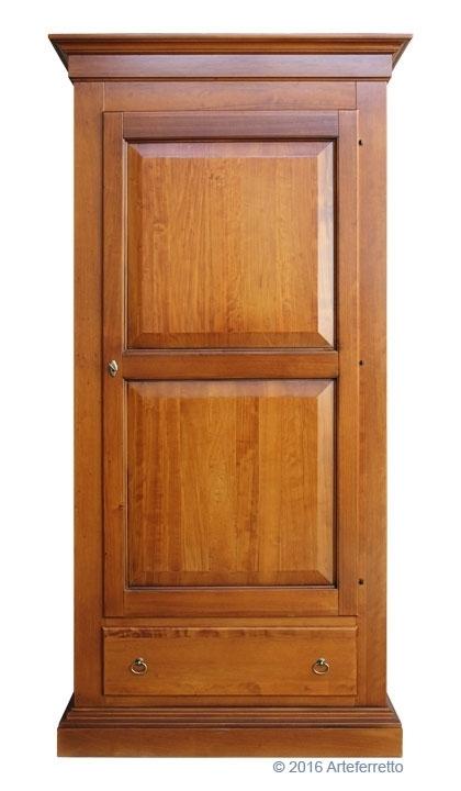 Armario arte pobre en madera maciza 1 puerta 1 cajón