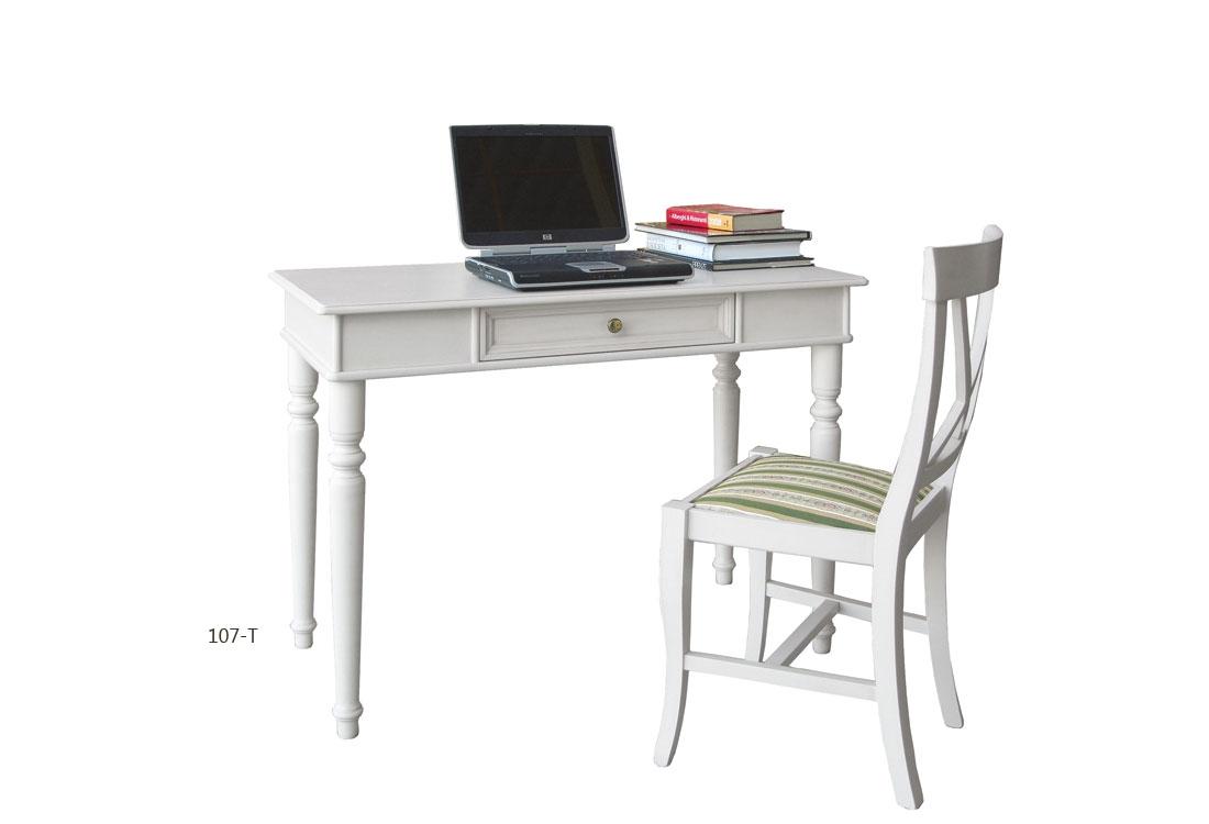Mesa de despacho estilo clásico laqueada y silla asiento acolchado